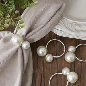Large Double Pearl & Silver Napkin Rings Set of 8